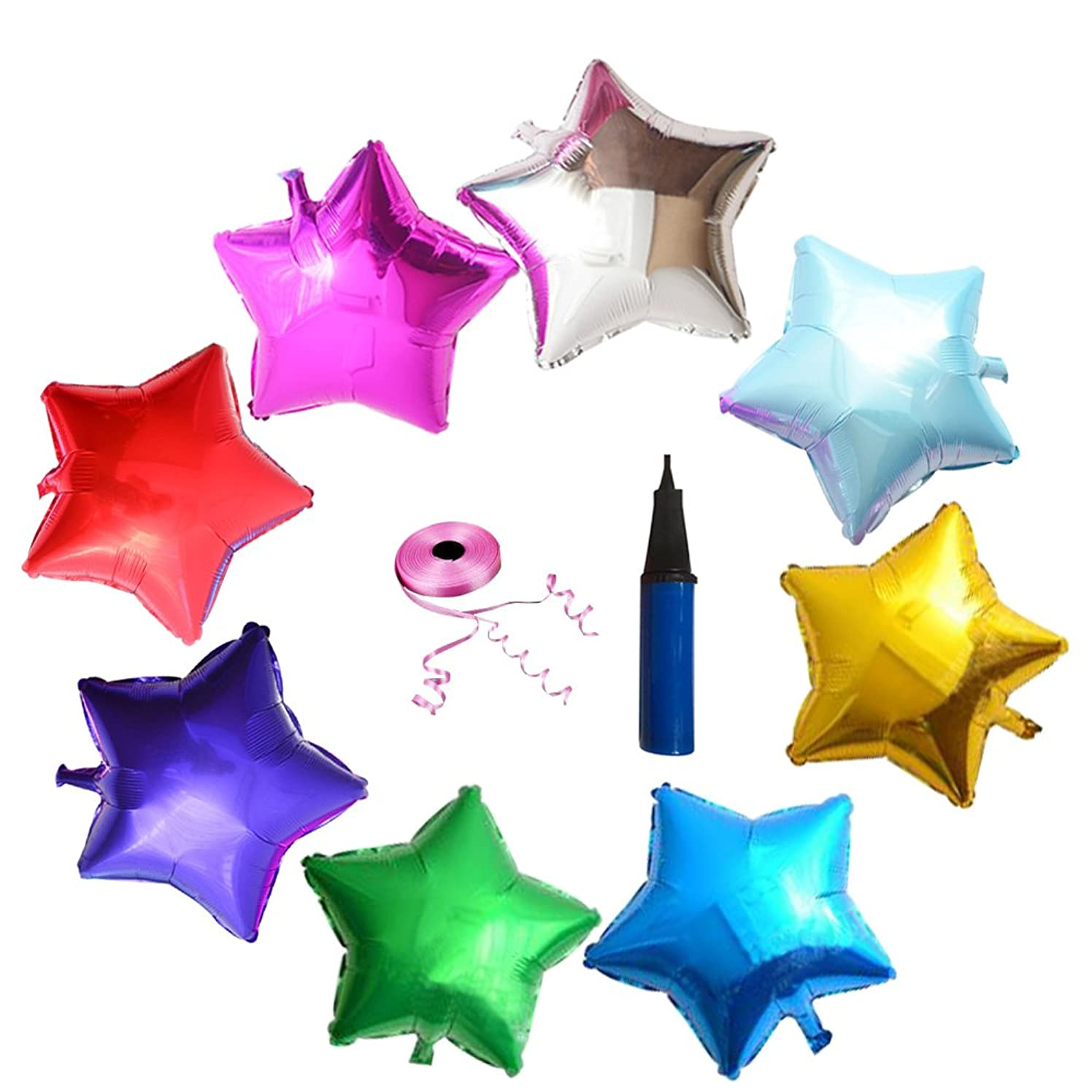 Yungone 18 Inch Star Shape Foil Balloons. Foil Mylar Aluminium Balloons.Metal Foil Balloons.Balloon Ribbon Pink and Hand Held Air Inflator. Random Color.