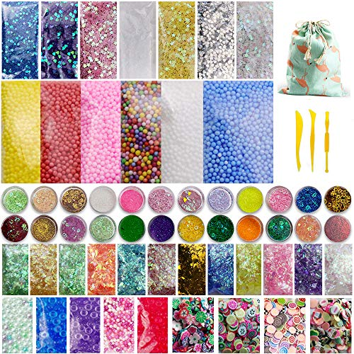 Slime Supplies Kit, 63 Packs Slime Beads Charms Include Floam Beads, Fishbowl Beads, Foam Balls, Glitter, Fruit Slices, Slime Accessories for Slime Party Decorations DIY Art Craft Making
