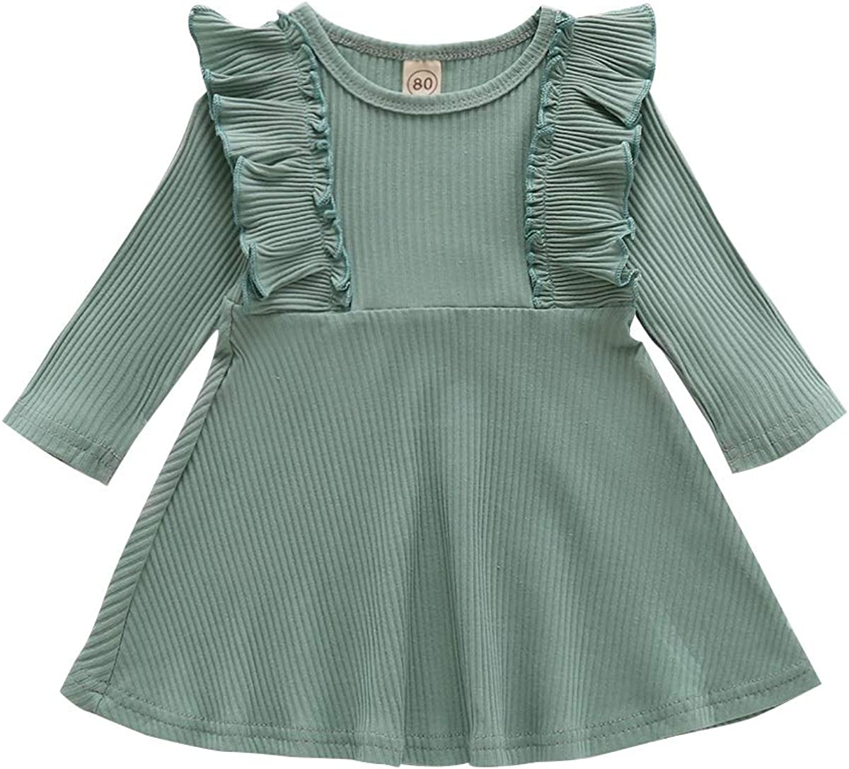 Ritatte Overseas parallel import regular item Toddler Baby Girl Dress Long Ribbed Save money Solid Ruffle Sleeve
