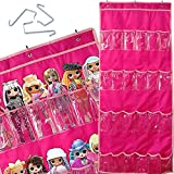 LOL Storage Case Hanging Over The Door 24 Pockets Storage Organizer Holder Compatible with Surprise Toys Dolls Omg Barbie Lol 57.5''x22'' (Pink)