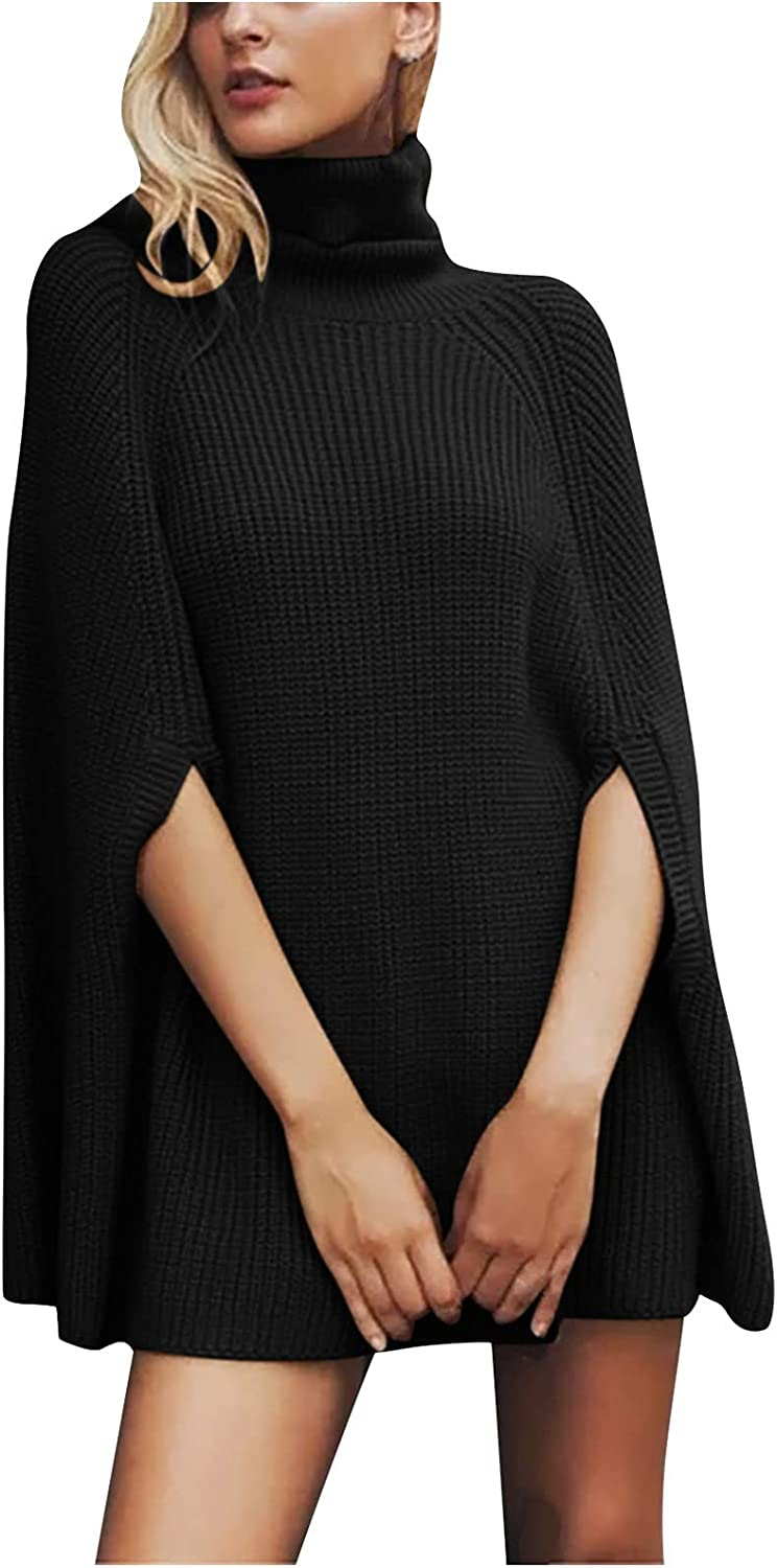 Women Fall Turtleneck Sweaters,Cloak-Style 3/4 Sleeve Knit Tops,Formal Casual Business Oversized Jumper for Work