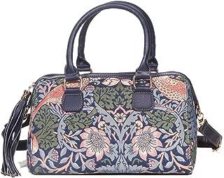 Signare Tapestry Stylish Tassel Top Handle Shoulder Bag Purse Handbag in William Morris Strawberry Thief Blue (TASS-STBL)