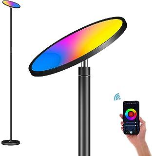 Lámpara de pie Smart de 35 W Super Bright LED para leer en el salón, dormitorio, oficina, control táctil y control de aplicación, RGBCW, 2700 K-6500 K, funciona con Alexa y Google Home, color negro