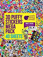 幼児子供用ふわふわシールセット大量40枚入り:かわいい海外デザイン、女の子男の子向 け、ハート・花・動物・車・アルファベットの模様、950個以上のステッカー在中、工作 やデコレーションに Purple Ladybug Novelty