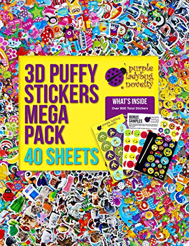 Purple Ladybug 3D Puffy Stickers for Kids & Toddlers Mega Variety Pack - 40 Assorted Sticker Sheets with 950+ Cute Stickers in Bulk! Includes Stars, Animals, Alphabet, Cars, Emoji Faces, and More!