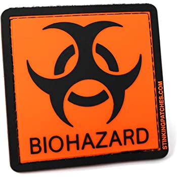 Biohazard Symbol 2x2 Morale Patch Black with Red