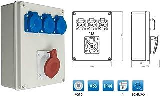 Baustromverteiler Wandverteiler 1 x CEE16A/400V  3 x Schuko 230V/16A verdrahtet