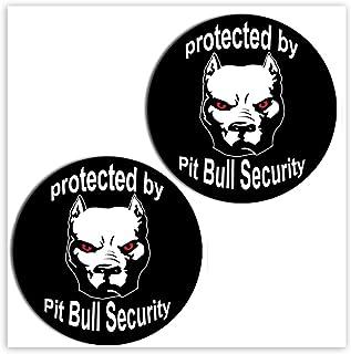 SkinoEu® 2 x självhäftande roliga klistermärken vinyldekal Pitbull hund säkerhetsskydd laptop iPad bilfönster auto motorcy...