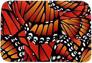 EGGDIOQ Doormats Orange Butterfly Wings Custom Print Bathroom Mat Waterproof Fabric Kitchen Entrance Rug, 23.6 x 15.7in