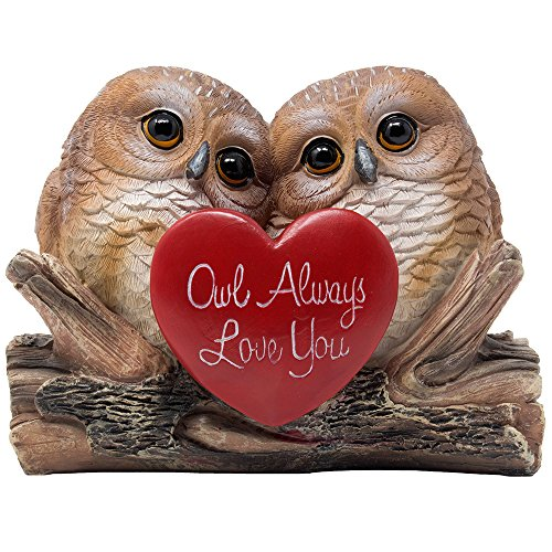 Romantic Owl Always Love You Figurine with Red Heart and Two Decorative Owls on Log for Cute Girl's Bedroom Decor Statues for Wife & Valentine's Day Gift Ideas for Girlfriend
