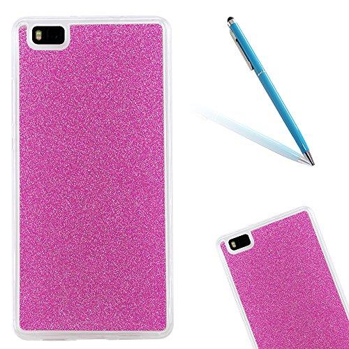 CLTPY Hülle für Huawei P8Lite, Glitzerfolie Glitter Dünne Matt Transparent Weich Silikon Handytasche für Huawei P8Lite + 1 x Freier Stift - Rote Rose