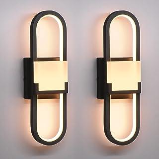 Wowatt 2 Pack LED Applique Murale Moderne Noire 18w Lampe Murale Intérieur 3000K Blanc Chaud Éclairage Spot Murale Décorat...