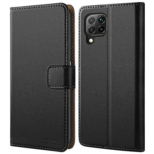 HOOMIL Handyhülle für Huawei P40 Lite Hülle, Premium Leder Flip Hülle Cover Schutzhülle für Huawei P40 Lite Tasche, Schwarz