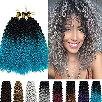 Hairro Water Wave Crochet Hair Braids 14 Inch Ombre Afro Marlybob Kinky Curly Synthetic Hair Bundles Extensions Jerry Curl Twist Hair Weave for Black Women 3 Bundles/Pack 2 Tones Black to Lake Blue
