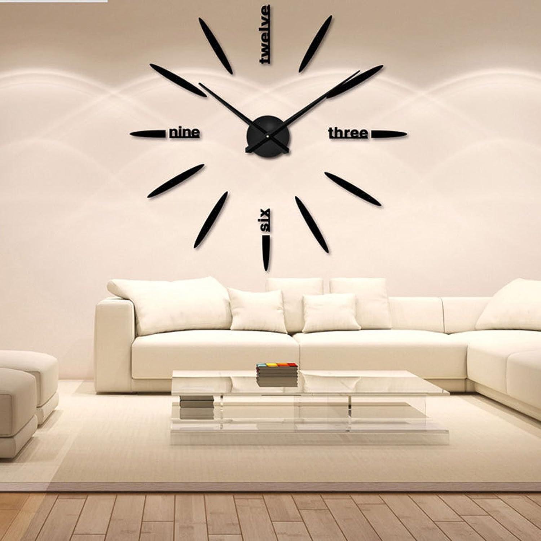 3D Acrílico Etiqueta De La Parojo Reloj Estéreo Moda Bricolaje Reloj De Parojo Creativo Sala De Estar Decoración,negro