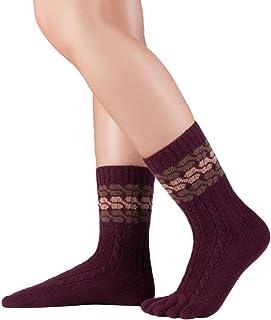 Knitido, Calcetines de dedos de lana merina y cachemira, calcetines de lana sin costuras, sin banda de goma, unisex