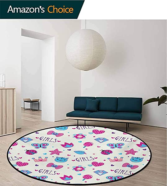 RUGSMAT Teen Girls Modern Washable Round Bath Mat Pattern With Funny Doodle Elements Bowtie Ladybird Diamond Figures And Kitty Non Slip Bathroom Soft Floor Mat Home Decor Diameter 35 Inch