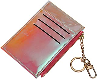 Fashion Shining Mini Wallets Purse Credit Card Holder Card Case with Key Ring (Pink)