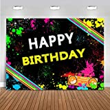 Mocsicka Adult Happy Birthday Graffiti Backdrop Abstract Paint Splash Background for Photography Vinyl Hip Hop 80s 90s Theme Birthday Party Decoration Supplies (7x5ft)