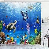 Alvaradod Cortina de la Ducha,Fondo del Acuario del océano Azul (2),con 12 Ganchos de plástico Cortinas de baño Decorativas 72x84 Pulgadas
