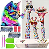KEYRANKE 2 Pack Diamond Art for Kids 5d Diamond Painting Kits Crystal Craft Kits Adults UK DIY Full Drill Picture with New Upgrade Toolkit (Cat and Giraffe)