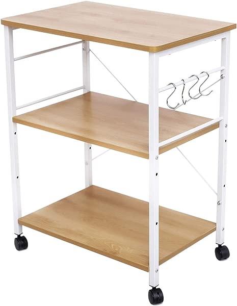 HOFOME Kitchen Baker S Rack 3 Tier Kitchen Island Cart Utility Microwave Oven Cart Metal Frame Storage Stand Shelf Light Oak