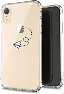 JAHOLAN Compatible iPhone XR Case Clear Cute Amusing Whimsical Design Paper Plane Flexible Bumper TPU Soft Rubber Silicone Cover Phone Case for iPhone XR 2018 6.1 inch