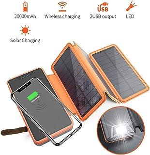 Solar Charger, Solar Wireless Charging Treasure 20000 Mah/10000 Mah Large Capacity Folding Board Outdoor Waterproof for All Smartphonestablet