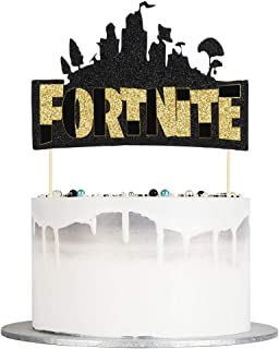 Auteby Video Game Cake Topper - Birthday Cake Topper and Video Game Party Decoration Supplies (Gold)
