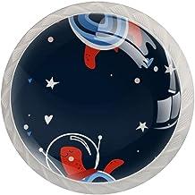 Lade knop Pull handvat 4 stuks Crystal Glass Cabinet lade trekt kast knopen,Turtle Spaceman helm