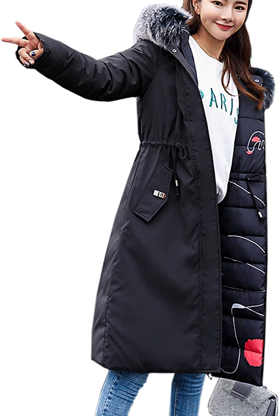 Flygo Women's Thickened Down Jacket with Fur Hood Warm Quilted Cotton Padded Parkas Coat