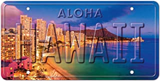 Pacifica Island Art 6 x 12in Hawaii Embossed Photo License Plate - Waikiki Pink by Michael Sweet