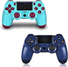 2 Pack Controller for PS4,Wireless Controller for Playstation 4 with Dual Vibration Game Joystick (Midnight Blue+Berry)