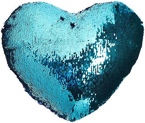 DrCosy Herzform Kissen Meerjungfrau Pailletten Kissen Mit Kissenbeilagen Reversible Dekokissen (35x40cm, Aquamarin grün / Lila)