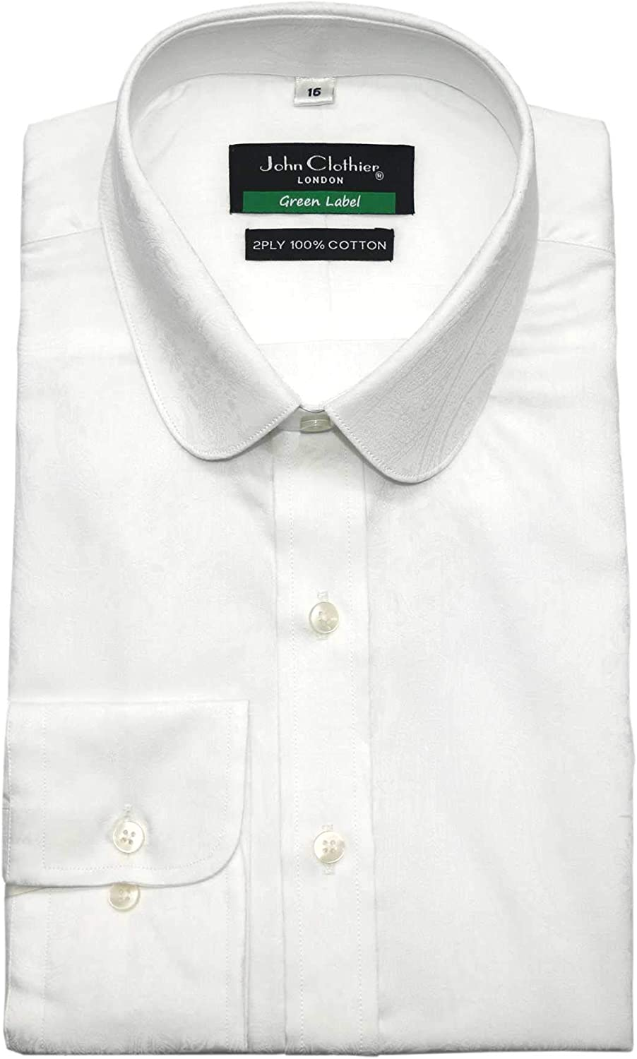 Mens Penny Collar Shirt White Floral Jacquard Texture Peaky Blinders Round Club Thomas Shelby Cotton 800-68