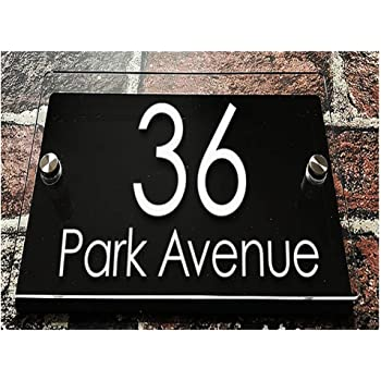 250/×140mm Oval Customized Transparent Acrylic House Signs Door Plates Plaques Door Number//Street Name Signs with Vinyl Stickers Films White