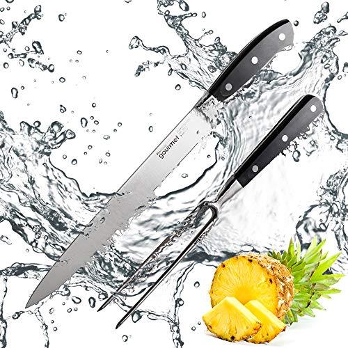 ProCook Gourmet X30 Tranchierbesteck - 25 cm Tranchiermesser und Gabel - Fleischmesser und Gabel - 2-teilig