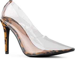 RF ROOM OF FASHION Women's Dressy Transparent Stiletto Heel Pointy Toe Pumps Shoes