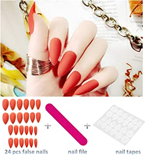 editTime 24PCS Solid Colors Acrylic Stiletto False Nails Full Cover Fake Nails Tips Natural Long Claw Nails (Matte red)