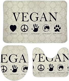 YING Vegan Vegetarian Soft Bathroom Rug Mats 3 Piece Set Non-Slip Shower Bath Carpet Bath Rugs + Contour Mat + Lid Toilet Cover Home Decorative