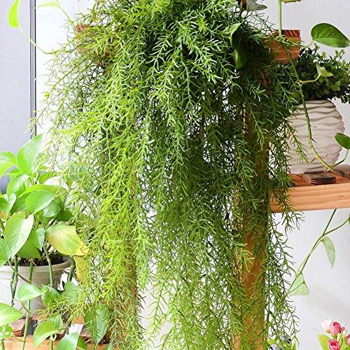 XdiseD9Xsmao 1 stuks realistische kunstplant, groene bladeren, natuurlijk huis, hangende slinger, decoratie voor de tuin Celeste Y Blanco