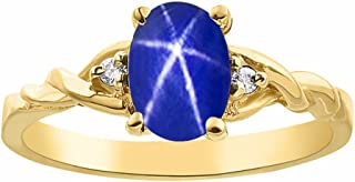 Anillo de zafiro con estrella azul y diamante en oro amarillo de 14 quilates solitario