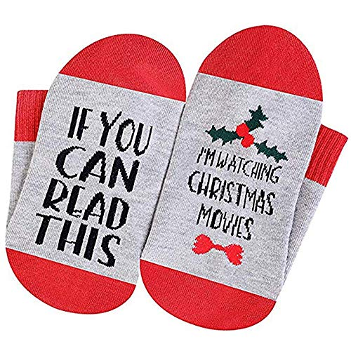 SurBepo Women Watching Christmas Movies Socks, If You Can Read This Socks (B/Red Flower)