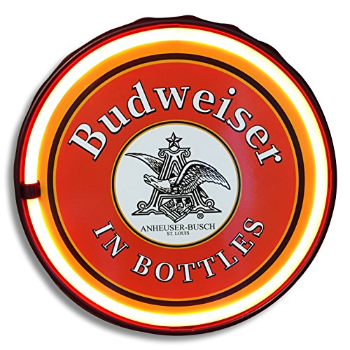 """Officially Licensed Anheuser Busch Budweiser Beer in Bottles LED Neon Light Rope Sign, 12"""" Round Bottle Cap Shape, Battery Or Plug-in Powered, Wall Decor for Home, Man Cave, Garage, Bar"""