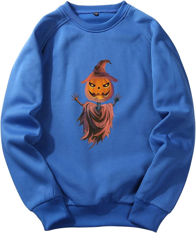 Halloween Pumpkin Printed Pullover Tops for Men Round Neck Hoodless Steatshirt Long Sleeve Sweater Loose Men's Top