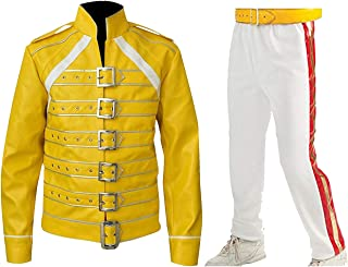 Mens Freddie Queen Concert Belted Motorcycle Yellow Faux Leather Mercury Costume