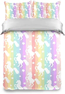 Juego de edredón de 3 piezas con fundas de almohada, lindos unicornios blancos, arcoíris, rayas de colores, ropa de cama, funda nórdica, suave y cómoda, colcha, funda de almohada para niños y niñas ad