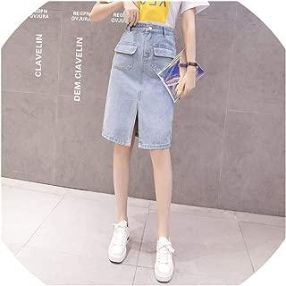 New Skirts Women Casual Jeans Skirt High Waist Denim Skirts Medium Length Pocket Jupe