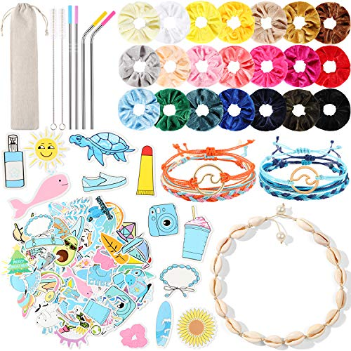 104 Pcs VSCO Stuff Set for Teen Girls Aesthetic Trendy VSCO Accessories 70 VSCO Stickers for Hydro Flask 21 Velvet Hair Scrunchies 6 VSCO Bracelets 1 Shell Necklace 4 Straws