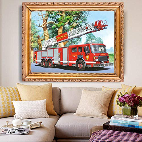 with Tools 5D Diamond Painting Fire Truck Square Home Decoration DIY Handcraft Art Kits 15.7x19.7in Fyp